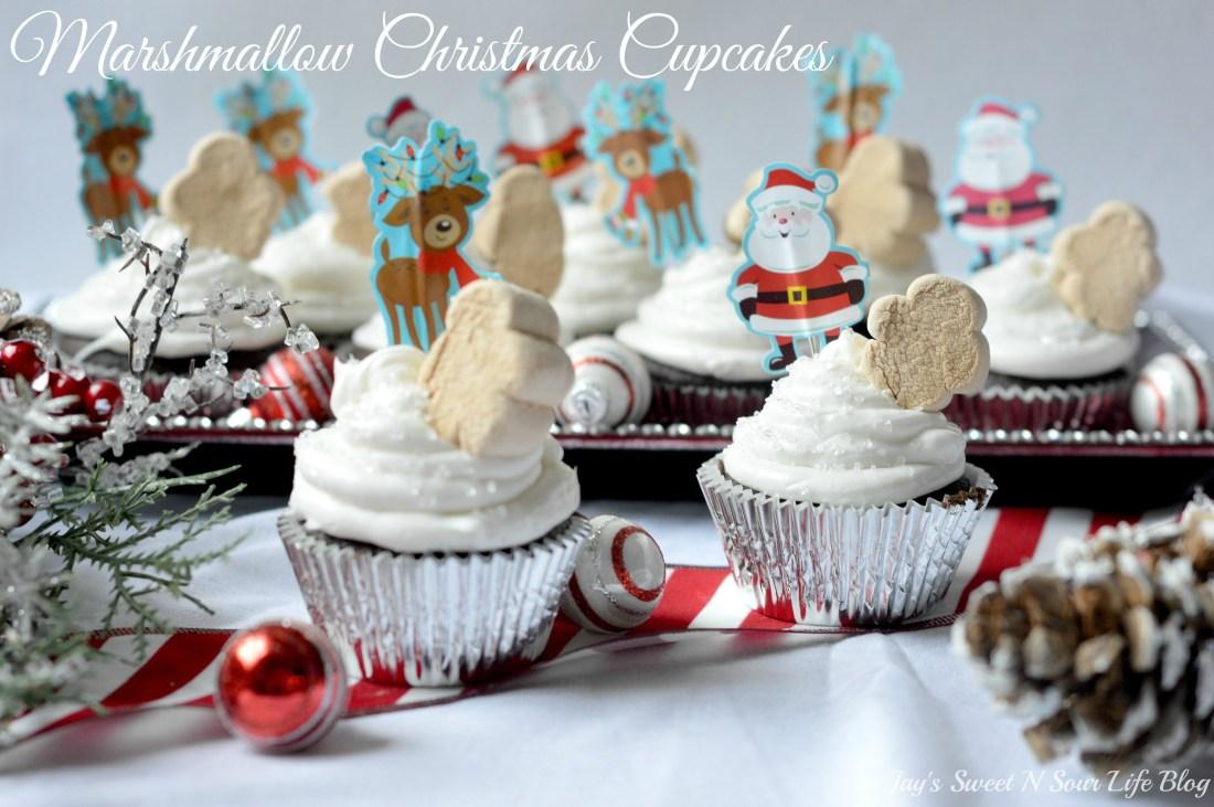 Marshmallow Christmas Cupcakes