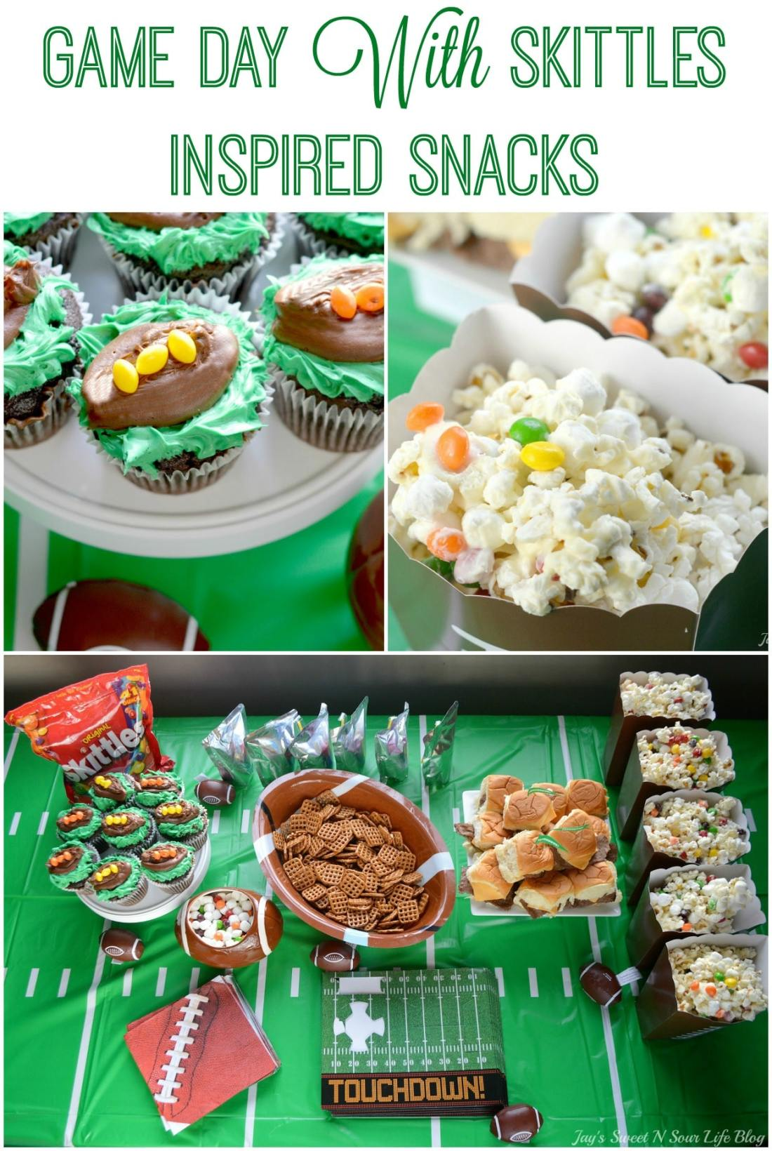 Game Day with Skittles Inspired Snacks. Game Day Skittles Inspired Snacks that all of your friends and family can enjoy! Recipes include skittles popcorn, football cupcakes and more!