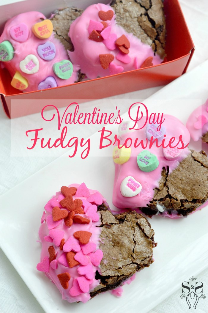 Valentine's Day Fudgy Brownie. A from-scratch Valentine's Day Fudgy Brownies recipe, stuffed with butterscotch chips. Dipped in chocolate and then topped with candy hearts and sprinkles.