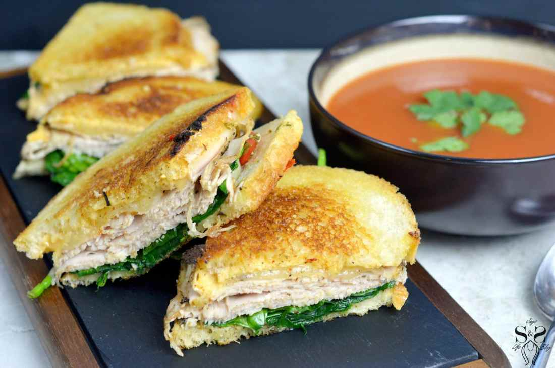 Turkey Pesto Grilled Cheese soup pair. If you are looking for that restaurant quality bistro sandwich, look no further. Bring the bistro home when you try my Turkey Pesto Grilled Cheese.