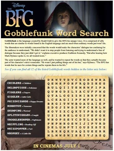 BFG Word search