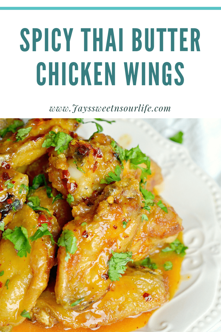 Spicy Thai Butter Chicken Wings. Perfect for any night, these Thai inspired Spicy Buttery Chicken Wings are so easy to make and oh so delicious.