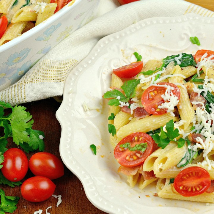 Cheesy Bacon and Spinach Penne Pasta