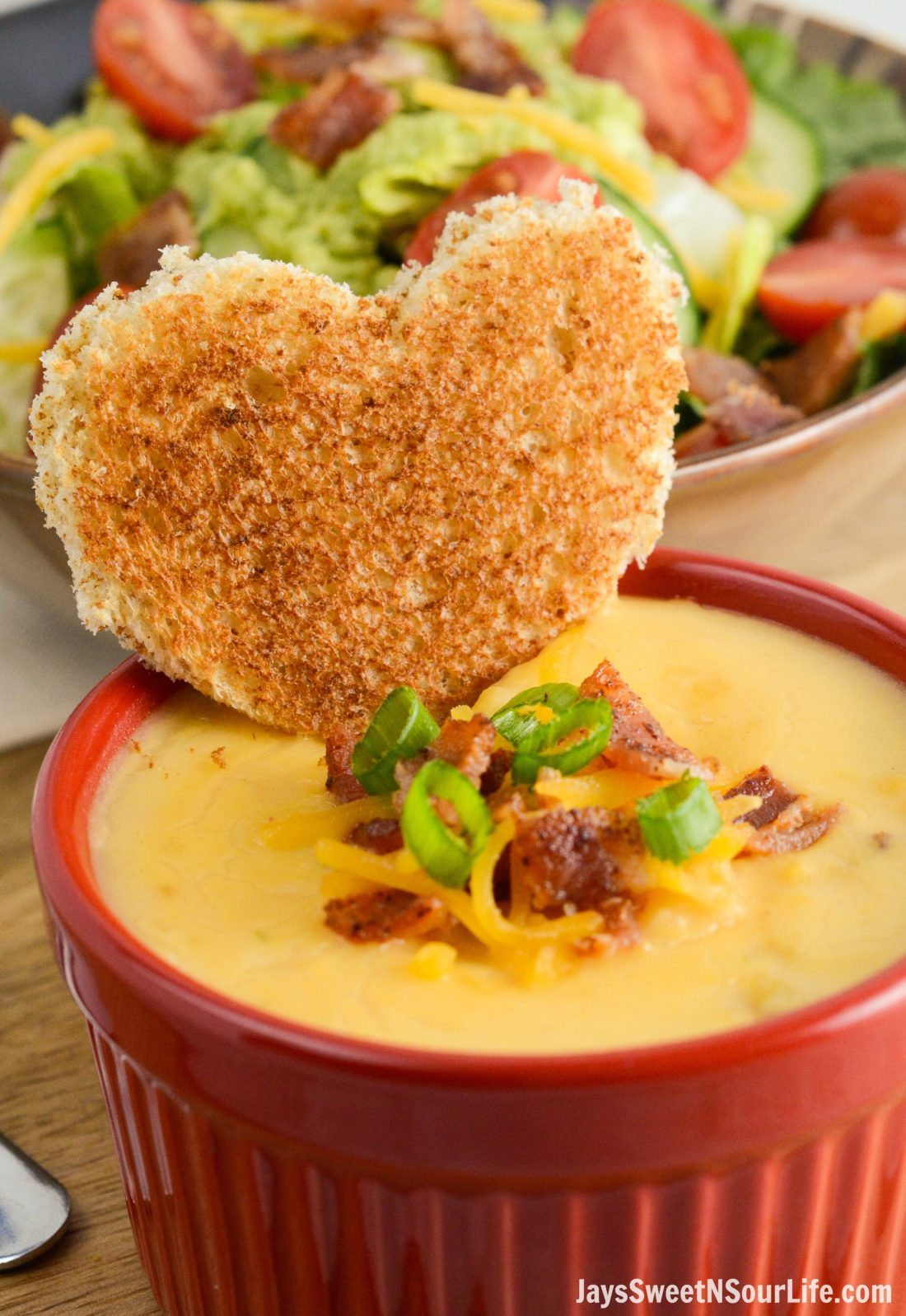 The new Idahoan® Steakhouse® Loaded Potato Soup is delicious, topped with a heart shaped piece of honey whole wheat bread.