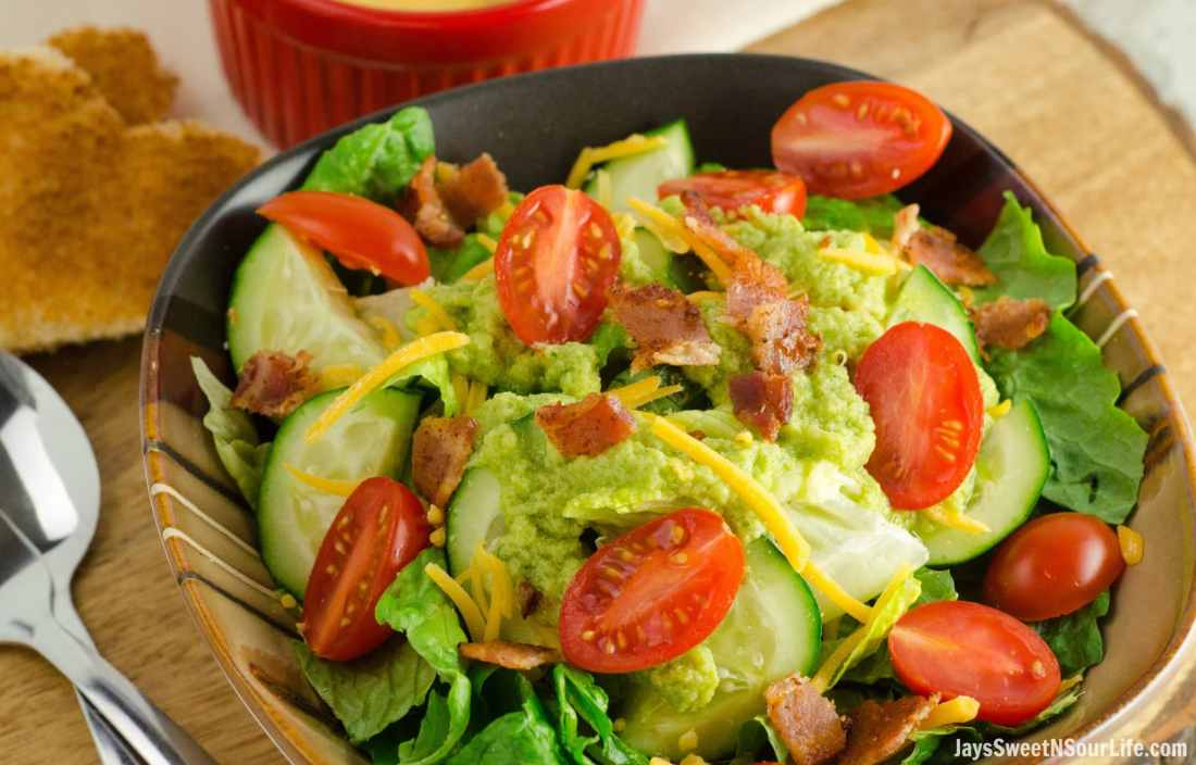 Easy to make avocado vinegrette dressing for a simple side salad.