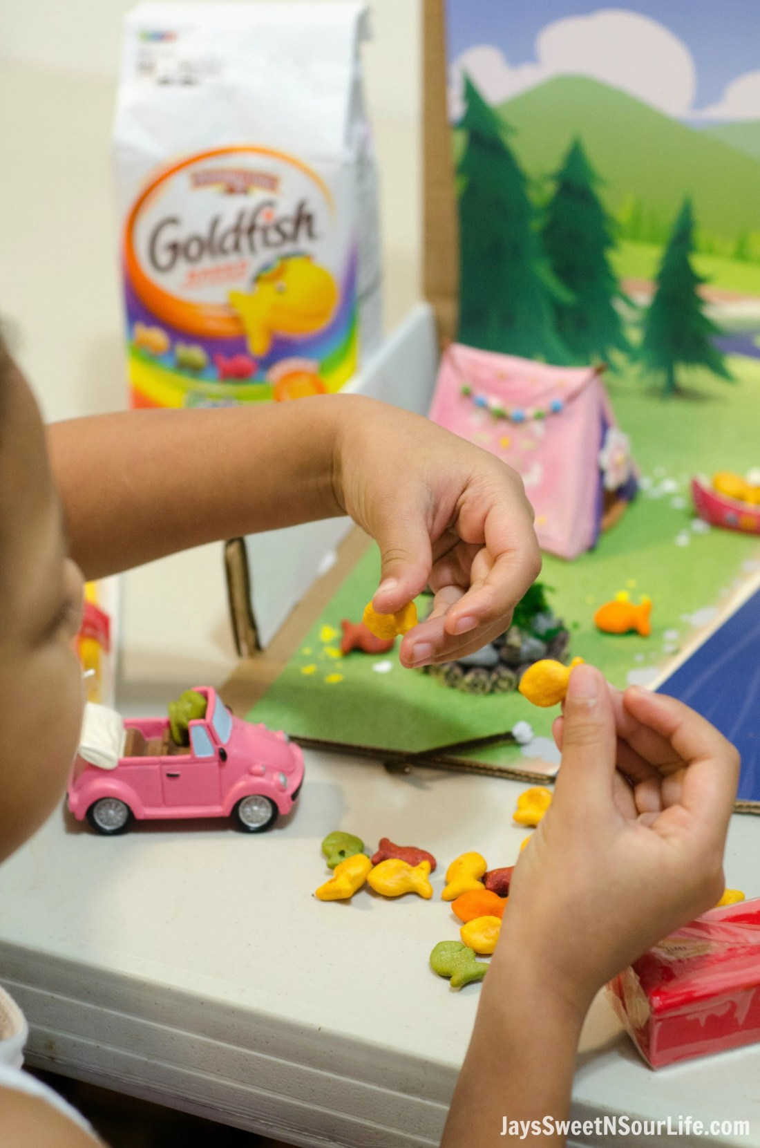 Creating Goldfish Tales with your kids are a fun way to spend your afternoons together. Create a stop motion video and share your families story. Make sure you don't let the kids eat the whole cast of the film.