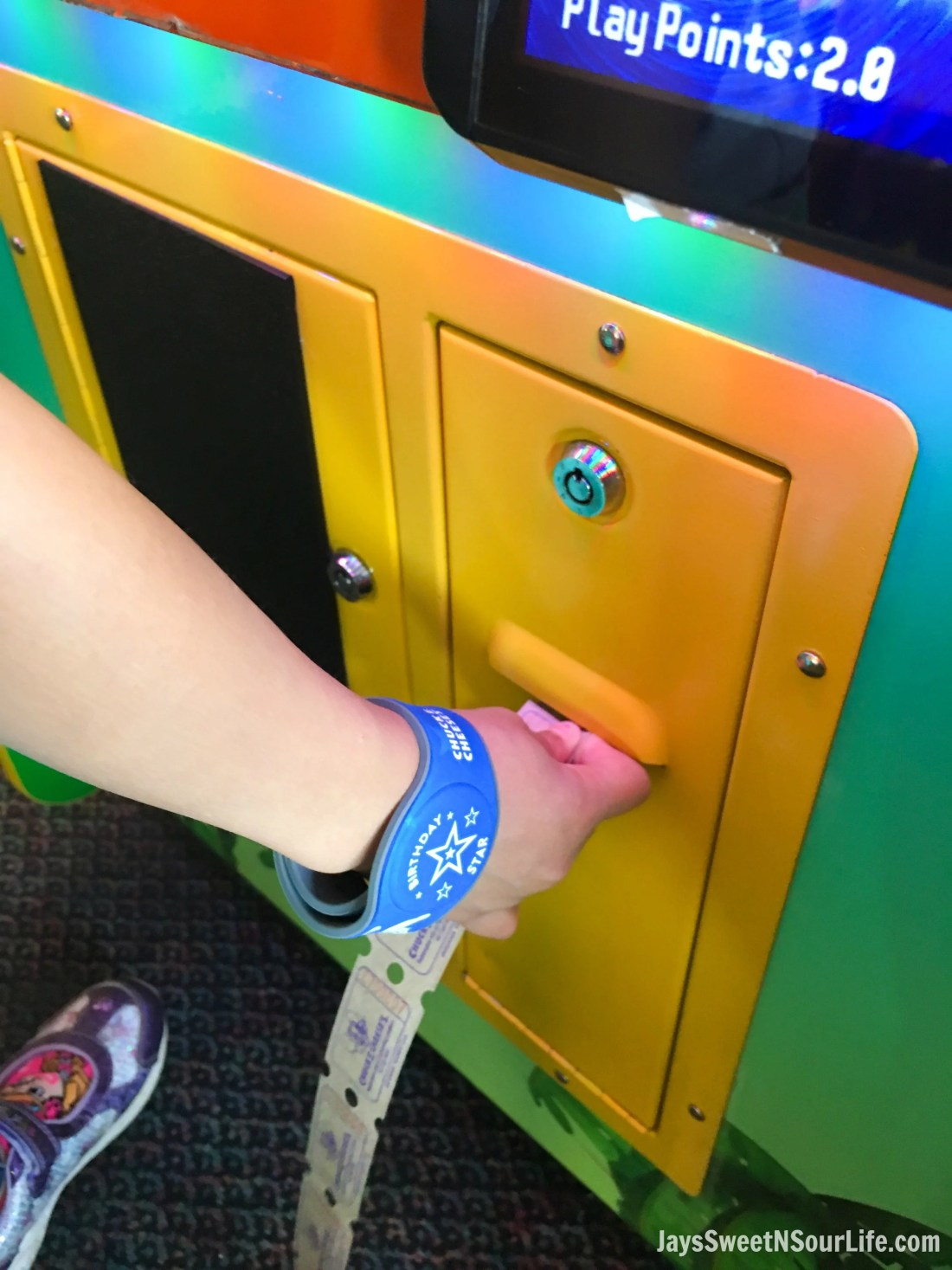 Chuck e cheeses VIP birthday Party Tickets and birthday star customized wristband. Book your party today and have guests enjoy 2 hours of unlimited game play.