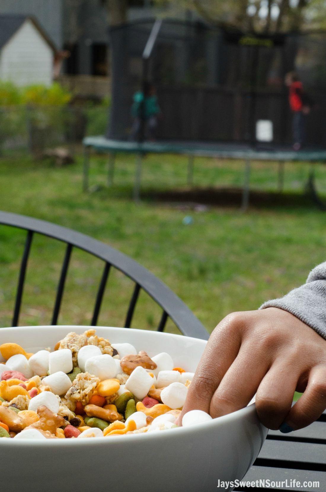 Goldfish Trail mix is the perfect on the go snack for famlies. Enjoy your trailmix in a large serving bowl for the whole family to enjoy in your own backyard.