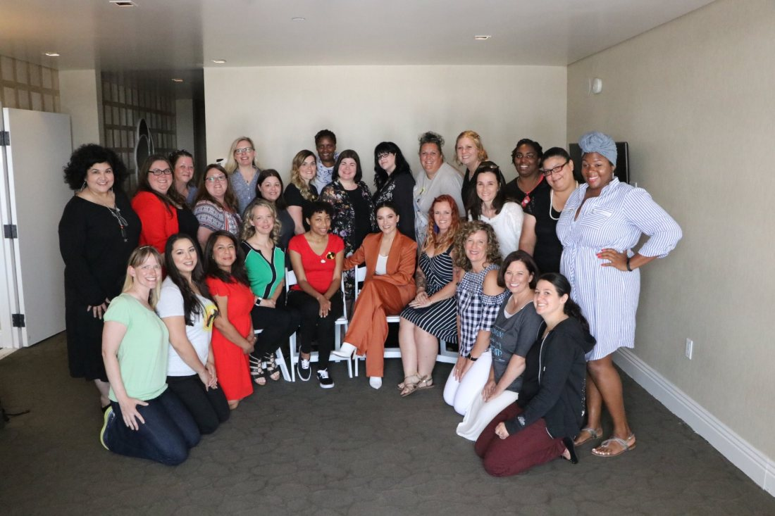Group Photo at Incredibles 2 Interview with Sophia Bush Voice of Voyd. Disney Pixars Incredibles 2 film is in theaters everywhere today.