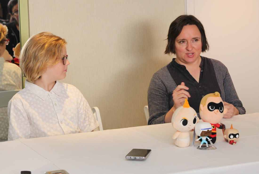 Incredibles 2 Interview with Sarah Vowell & Huck Milner with Sarah speaking. Voice actors of Dash and Violet Parr Tell All in this revealing exclusive interview.