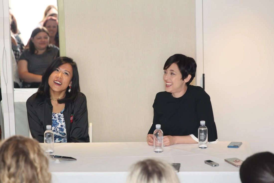 """""""Bao"""" Director Domee Shi & Producer Becky Neiman Post answering questions at interview. Directed by Domee Shi, Bao"""" opens in theaters on June 15, 2018, in front of """"Incredibles 2."""""""