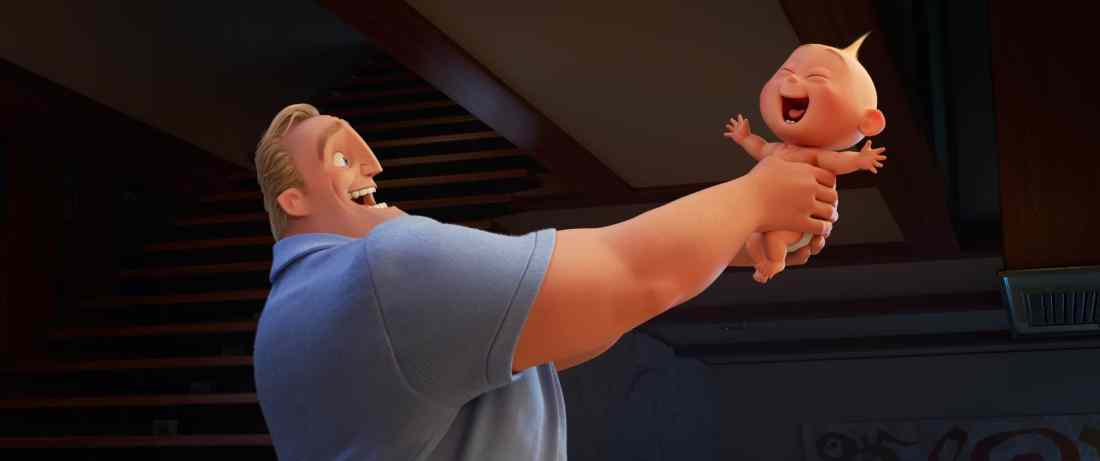 """In Disney•Pixar's """"Incredibles 2,"""" Bob (voice of Craig T. Nelson) is left to navigate the day-to-day heroics of """"normal"""" life, giving him an opportunity to bond with his younger son, Jack-Jack, whose superpowers are emerging—much to Dad's surprise."""