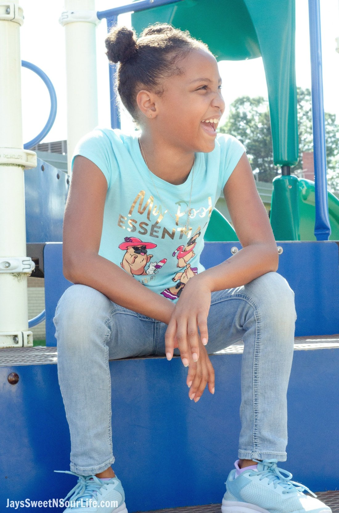 Justice Back To School Shirt Lifestyle Shot. Back To School Must Have Fashion For Tweens via JaysSweetNSourLife.com