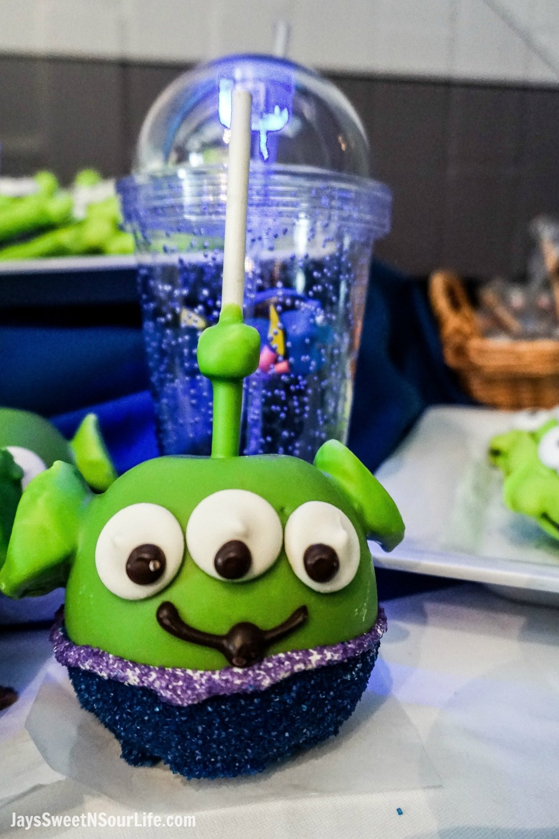Pixar Fest Alien Cake Pop. Pixar Fest at Disneyland runs from April 13 through September 3rd.