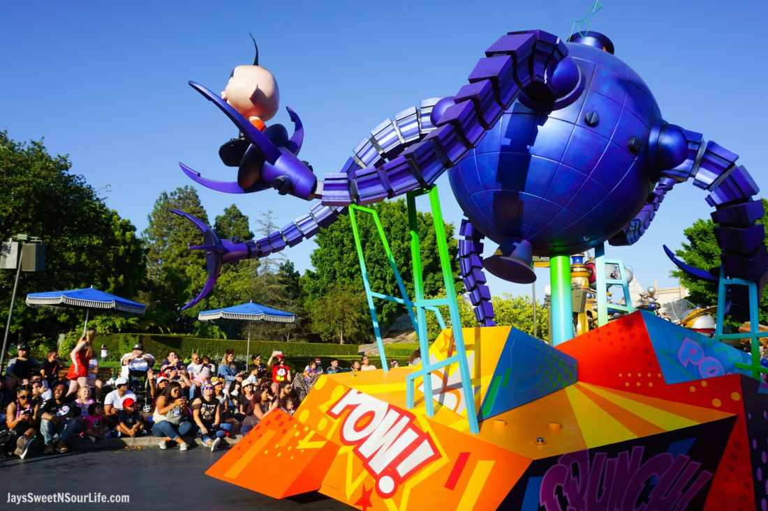 Pixar Play Parade at Disneyland Jack Jack The Incredibles Float. Pixar Fest at Disneyland runs from April 13 through September 3rd.