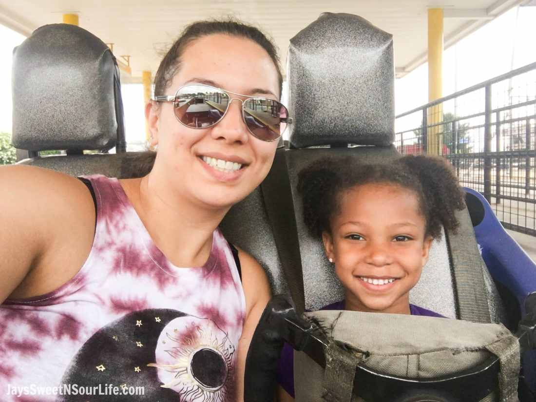 SpeedPark - Visit Cabarrus County Track Mom and daughter selfie. A Large Families Adventure Guide To Cabarrus County - North Carolina - via JaysSweetNSourLife.com.