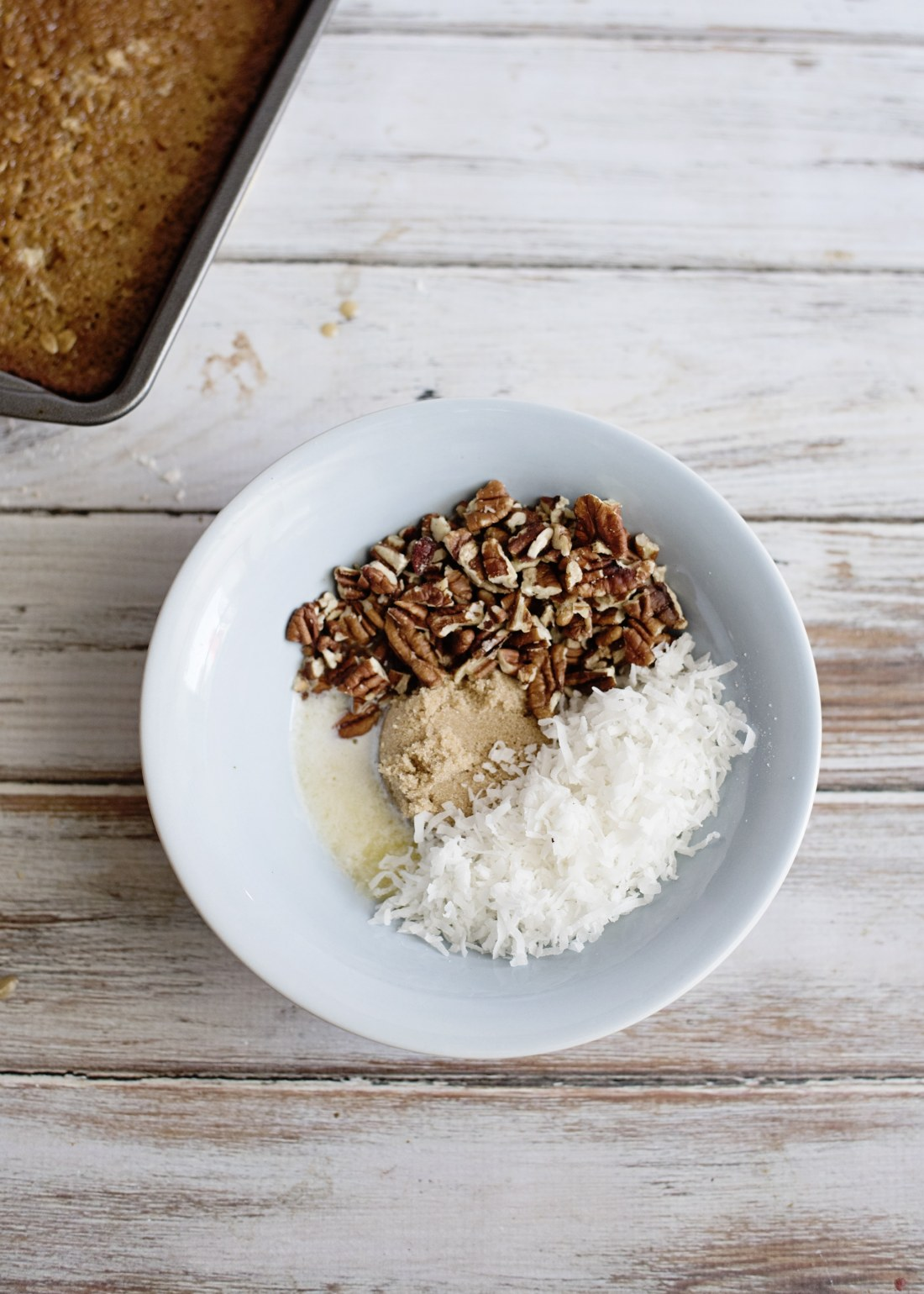 Oatmeal Cake with Coconut Pecan Frosting Step 10 pour coconut, brown sugar and pecans into bowl. Fill your home with the smell of an easy to make Grandma's recipe Oatmeal Cake with Coconut Pecan Frosting.