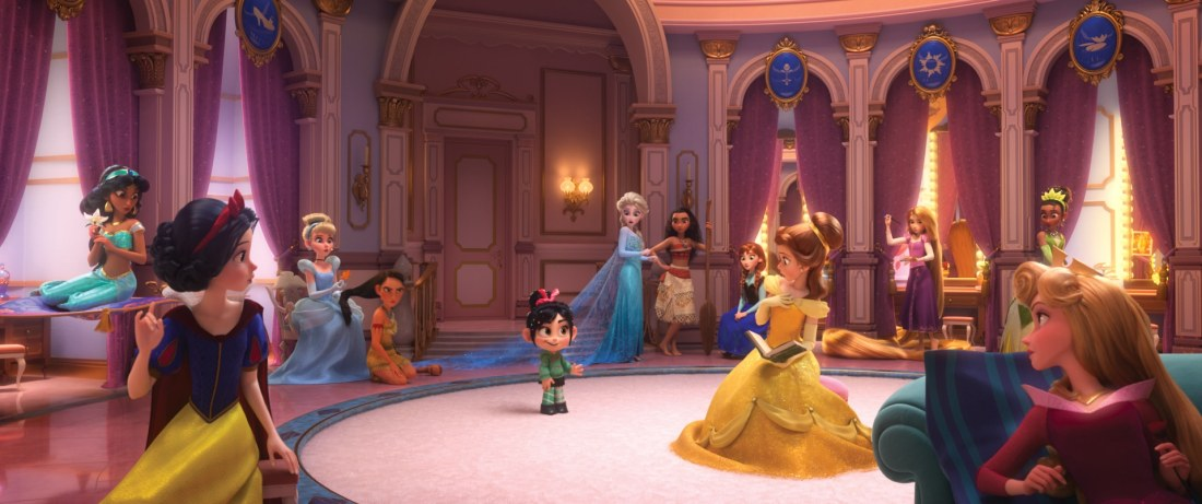 "Vanellope von Schweetz—along with her best friend finds herself surrounded by Disney princesses. The scene, highlighted in a new trailer for the film, features several of the original princess voices ""Ralph Breaks the Internet: Wreck It Ralph 2"""