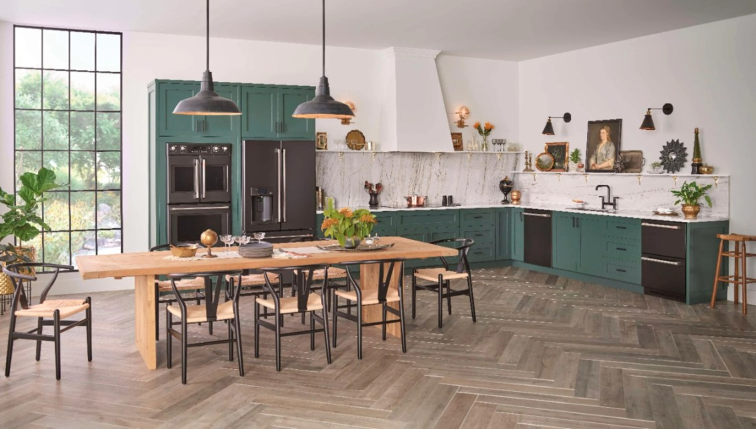 Black Matte GE Kitchen Modern Kitchen Idea. Introducing the Café Matte Collection from GE, a collection of modern kitchen appliances that you can customize. Find them at your local Best Buy.