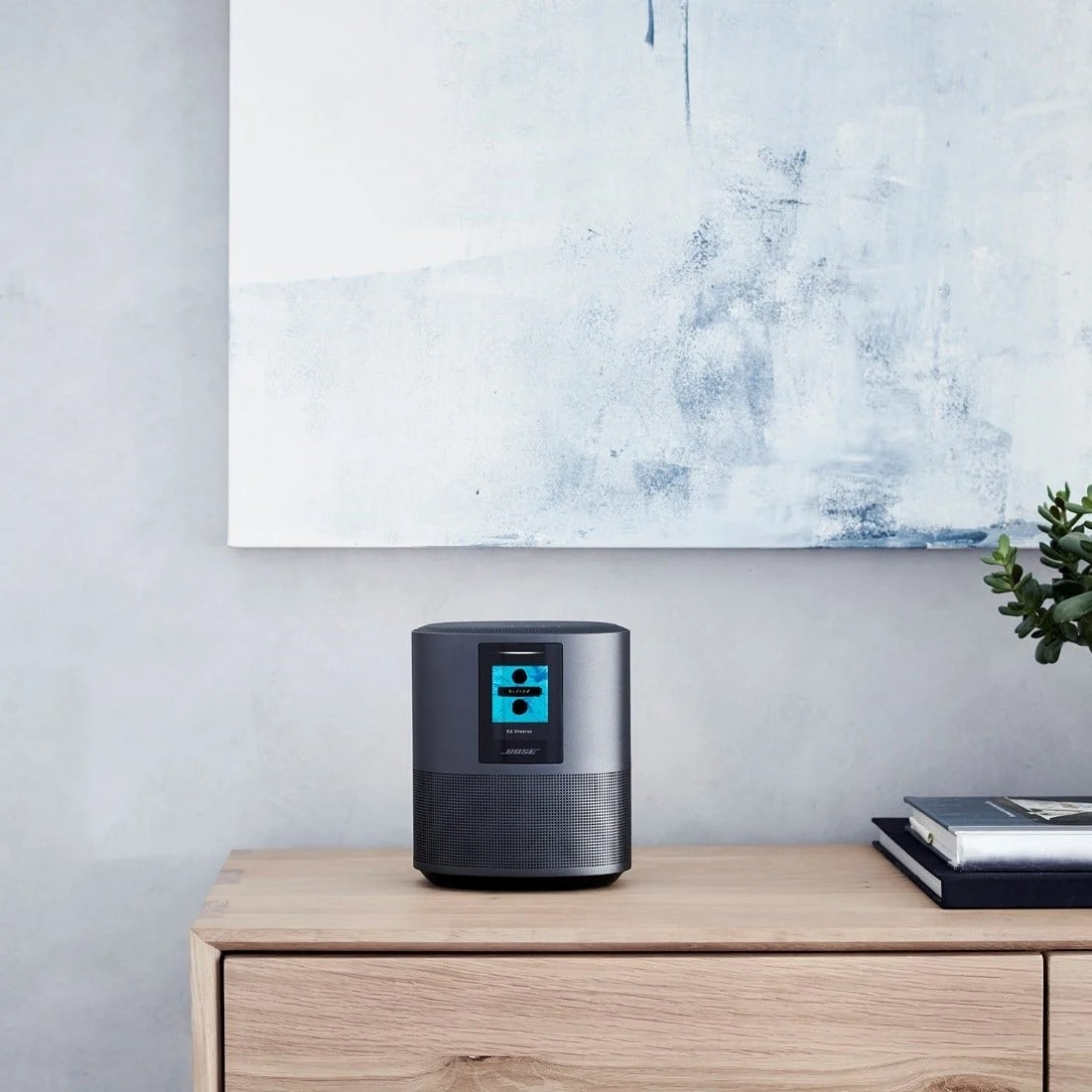 The Bose Home Speaker 500 delivers wall-to-wall stereo sound from a single speaker. Built-in voice control from Alexa puts songs, playlists, and more at the tip of your tongue.