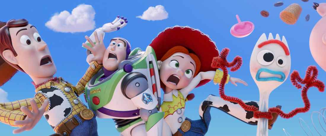 """TOY STORY 4 Group Shot. Everyone's favorite pull-string cowboy sheriff Woody, along with his best friends Buzz Lightyear and Jessie, are happy taking care of their kid, Bonnie, until a new toy called """"Forky"""" arrives in her room."""