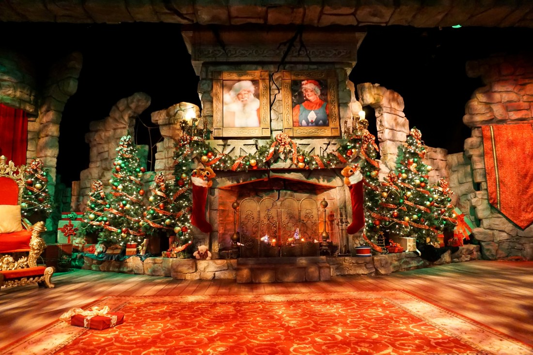 Santas Fireside Feast Fireside Stage. Gather around as Santa recounts a classic Christmas story while elves prepare a scrumptious all-you-care-to-eat meal and Mrs. Claus dazzles the dining room with holiday cheer. Read more about this wonderful feast at Busch Gardens Christmas Town in Williamsburg, Virginia.
