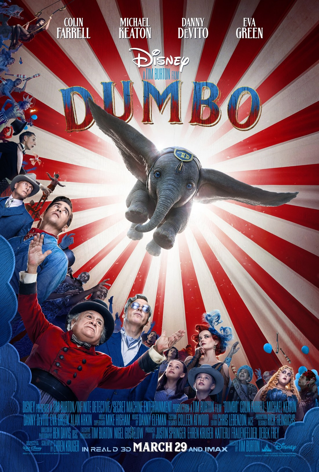Dumbo Movie Poster. Disney's live-action adventure Dumbo film explores where differences are celebrated, family is cherished and dreams take flight. In theaters March 29, 2019.