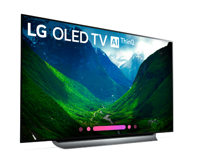 77-inch LG OLED C8 Left View. Bring the movie theater experience home with this 77-inch LG OLED television. Its advanced HDR enhances each scene to 4K quality, and its Intelligent Processor maximizes picture quality by producing images with rich colors, sharpness and depth.
