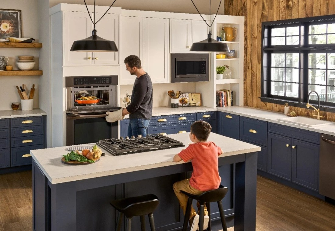 LG Double Wall Oven Kitchen Lifestyle. Get even more cooking flexibility and convenience with this LG Combination Double Wall Oven. Delivering the even cooking of convection to the speed of a microwave, and more.