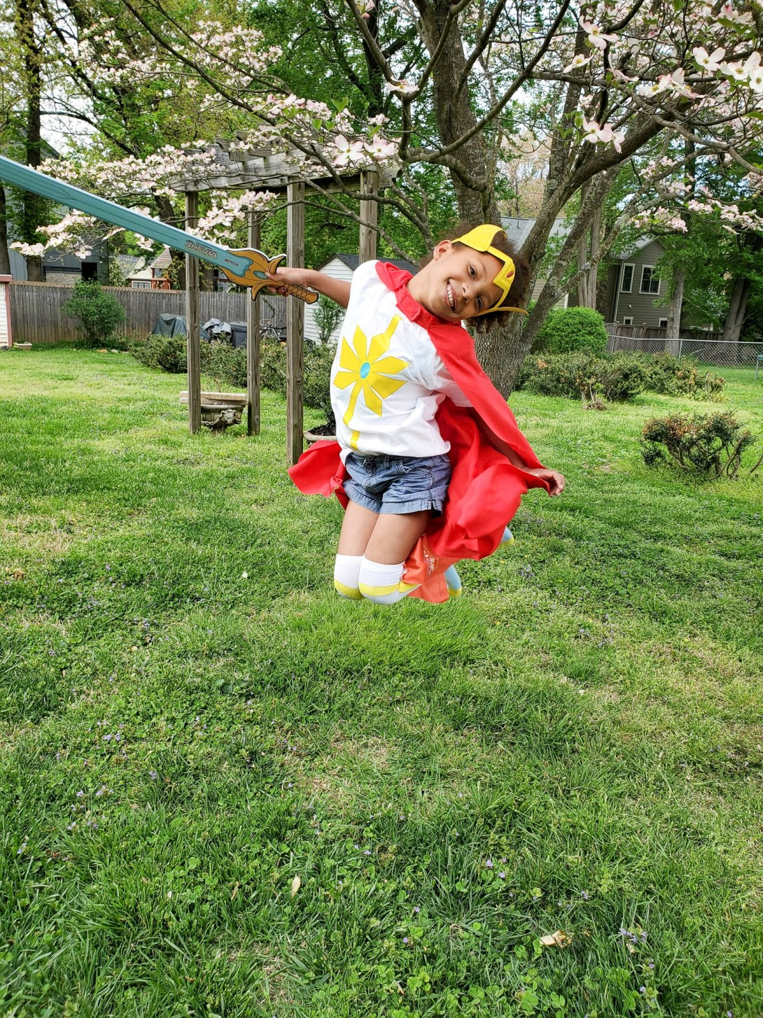 Esuun Jumping She Ra Season 2 Costume. Mark your calendars because on April 26th DreamWorks She-Ra and the Princesses of Power is roaring back to Netflix for the Honor of Grayskull. The series creator promises there will be cool new characters and story lines that didn't make it into the first season of She-Ra.