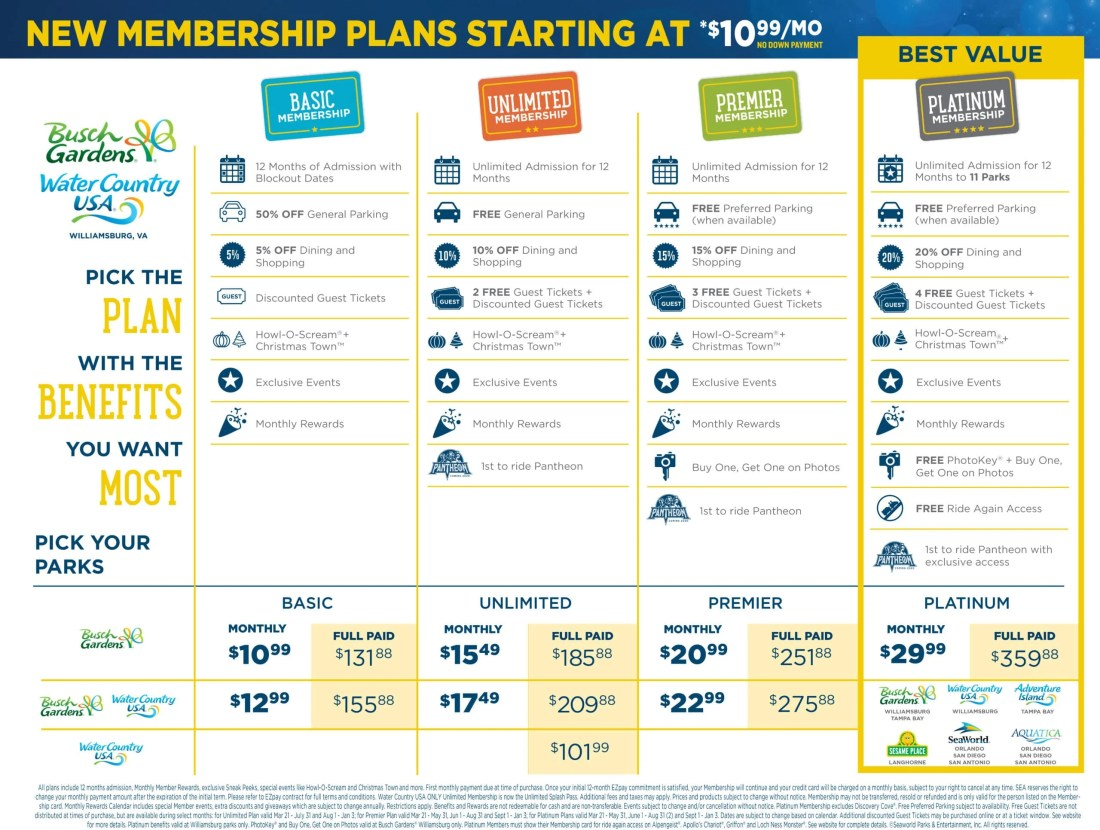 Busch Gardens Membership Benefits 2020. Busch Gardens Annual Pass Holders are using a new Membership Program. They offer affordable membership's that the whole family can enjoy.