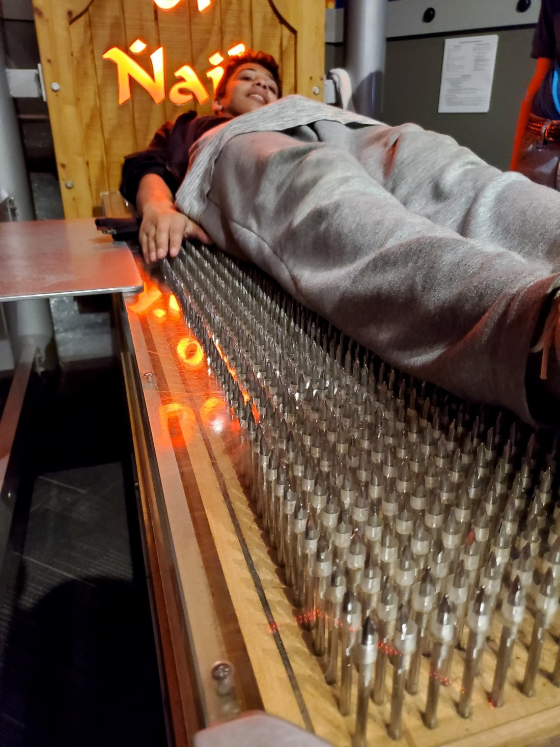 """WonderWorks Bed of Nails. One of the topthings to do in Pigeon Forge, WonderWorks Indoor Amusement park, is one of the bestPigeon Forge Attractions. With over 35,000 square feet of """"edu-tainment,"""" WonderWorks is an amusement park for the mind. Read our full review on the blog."""
