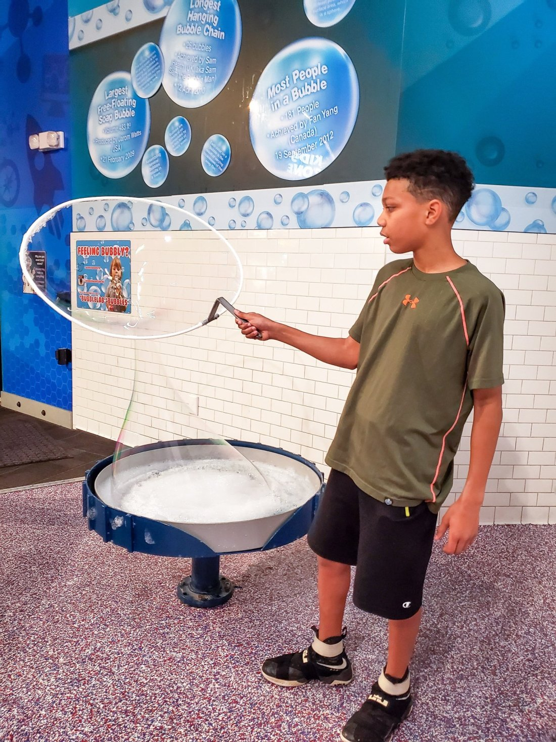 """WonderWorks Bubble Lab Malik. One of the topthings to do in Pigeon Forge, WonderWorks Indoor Amusement park, is one of the bestPigeon Forge Attractions. With over 35,000 square feet of """"edu-tainment,"""" WonderWorks is an amusement park for the mind. Read our full review on the blog."""