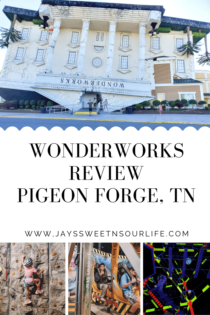 "WonderWorks Review Pigeon Forge, TN. One of the top things to do in Pigeon Forge, WonderWorks Indoor Amusement park, is one of the best Pigeon Forge Attractions. With over 35,000 square feet of ""edu-tainment,"" WonderWorks is an amusement park for the mind. Read our full review on the blog."