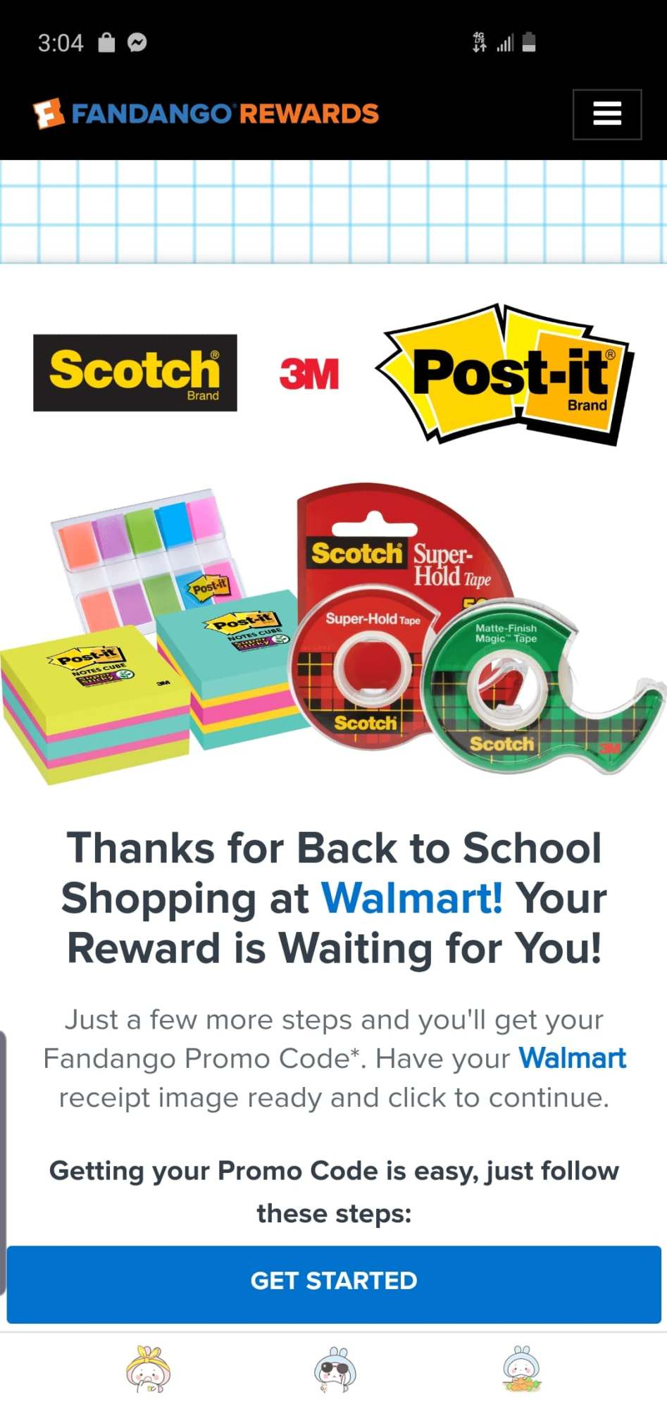 This year if you purchase $10 worth of any Post-it® and Scotch® Back to School stationery products from your local Walmart. You will receive a $10 Fandango promo code for your next movie ticket purchase.