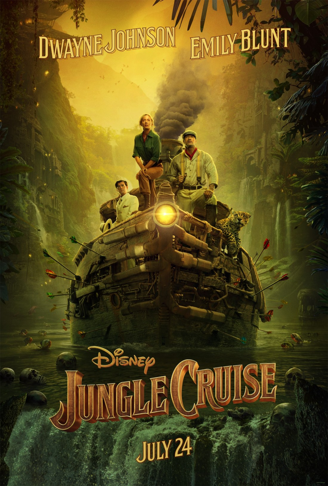 Disney's Jungle Cruise Movie Poster. Grab a first look at Disney's Jungle Cruise film set to hit theatres July 24, 2020. Inspired by the famous Disneyland theme park ride, Disney's JUNGLE CRUISE is an adventure-filled, Amazon-jungle expedition starring Dwayne Johnson as the charismatic riverboat captain and Emily Blunt as a determined explorer on a research mission.