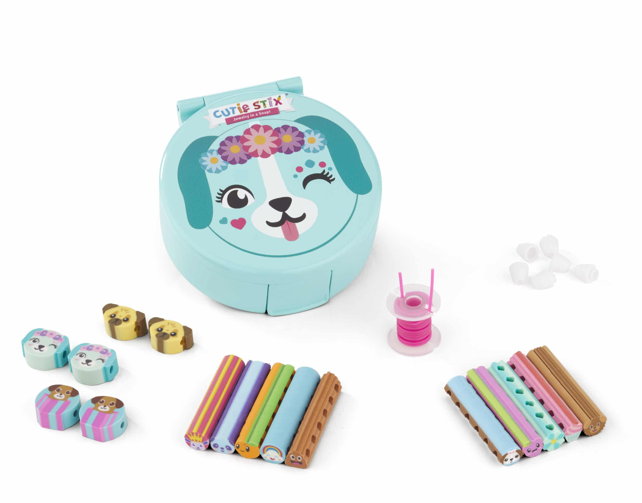 Take your Cutie Stix on-the-go with the all-new Cutie Compact Jewelry Kit! These adorable animal-themed compacts come complete with everything you need to make 4 Cutie Stix bracelets or 2 necklaces! Now you can bring your personalized Cutie Stix creations wherever you go! Available in 3 sets including Friends Furrever, Pinky Pal or Kitty Krew.
