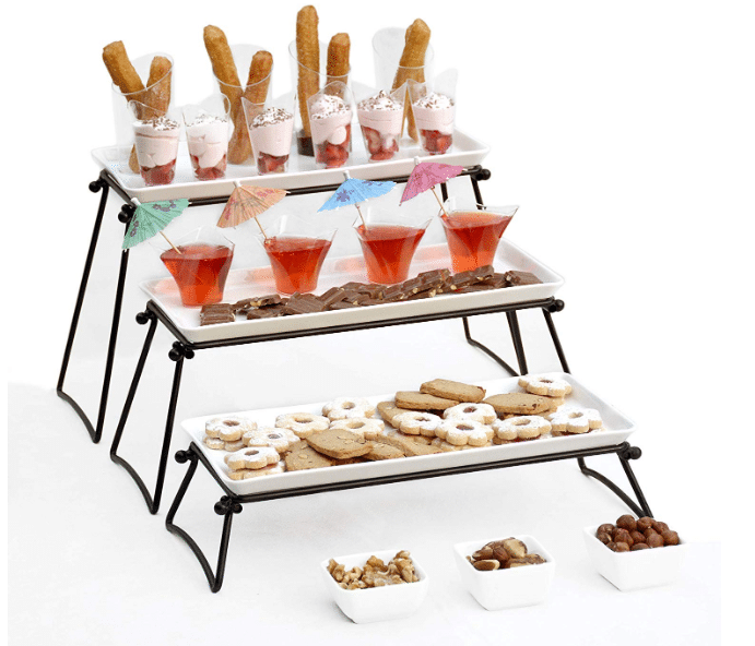 Elegant 3 Tier Serving Stand. The perfect gift for any hostess at heart. The design of our stand it unique as each tier stands on it own, giving the option to arrange the tiers to fit any table settings.