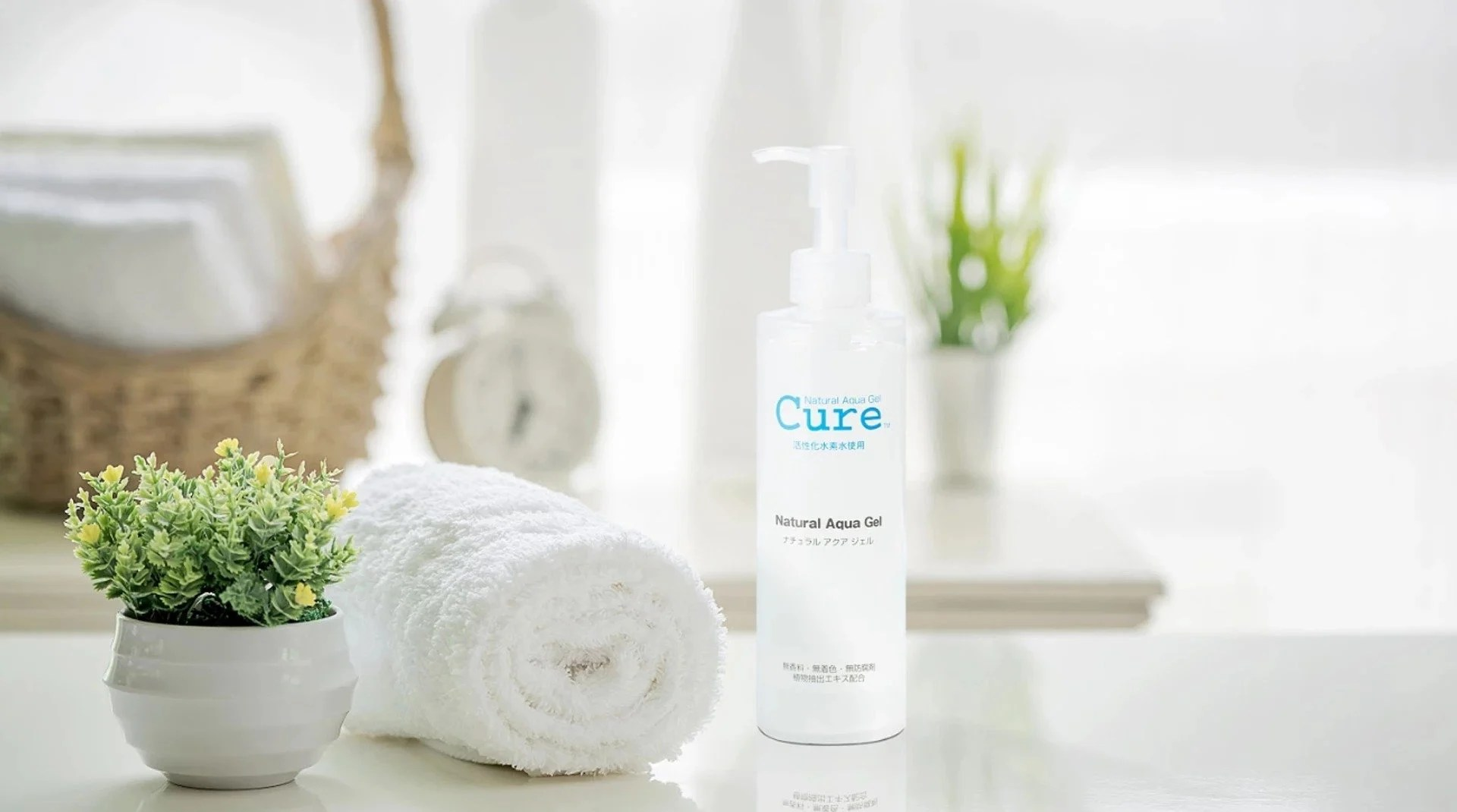 "CURE Natural Aqua Gel. CURE's formulation philosophy is ""Simple, Natural and Clean."" We human beings are born with Natural Healing Power to keep ourselves beautiful. Thus, there is no need to apply something complicated."