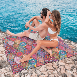 tesalate bohemian towel for two beach towel. Sand free. Leave the beach at the beach. Double sized beach towel: 160cm x 160cm / 63 x 63 inches. Ultra absorbent; over 2 liters of water. Rapid-drying. Half the time of a regular beach towel. Compact when rolled. Fits in your bag. Perfect for families to use for a day at the beach.
