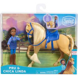 "DreamWorks Spirit Riding Free Collector Doll & Horse PRU & Chica Linda. Relive the adventures of Lucky, spirit, and all their friends from the DreamWorks Animation television series, spirit riding free! This doll and horse set is a perfect start to a new Horse collection. Each girl stands 5"" tall and is accompanied by her horse companion."