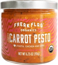 Freak Flag Carrot Pesto.We're into ultra-organic foods. Extra-amazing flavors. And positive people who can't resist any chance to make, cook and create. Freak Flag Organics exists so that cooking can be a revelatory experience. V is for victory.