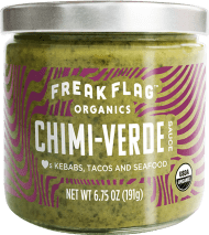 Freak Flag Chimi-Verde. True freaks of nature, with organic ingredients and globally inspired flavors. Basil and cilantro and jalapeño, oh my. Hailing from Argentinian and Mexican roots, with a kick of garlic for good measure.
