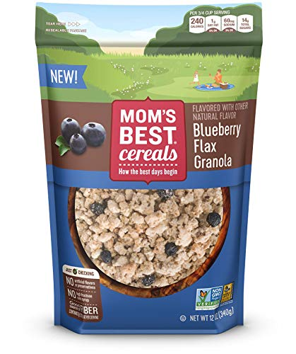 Mom's Best Blueberry Flax Granola. A delightful blend of whole grain rolled oats, flax and sweet blueberries. Grab a handful and make your own picnic.