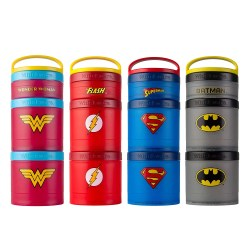 Whiskware Justice League Stackable Snack Pack. Emblazoned with officially licensed DC Comics logos, Whiskware Stackable Snack Packs get a superhero makeover! Justice League favorites Batman, Superman, Wonder Woman, and The Flash are represented with retro logos on versatile, stackable containers—perfect for on-the-go snacking.