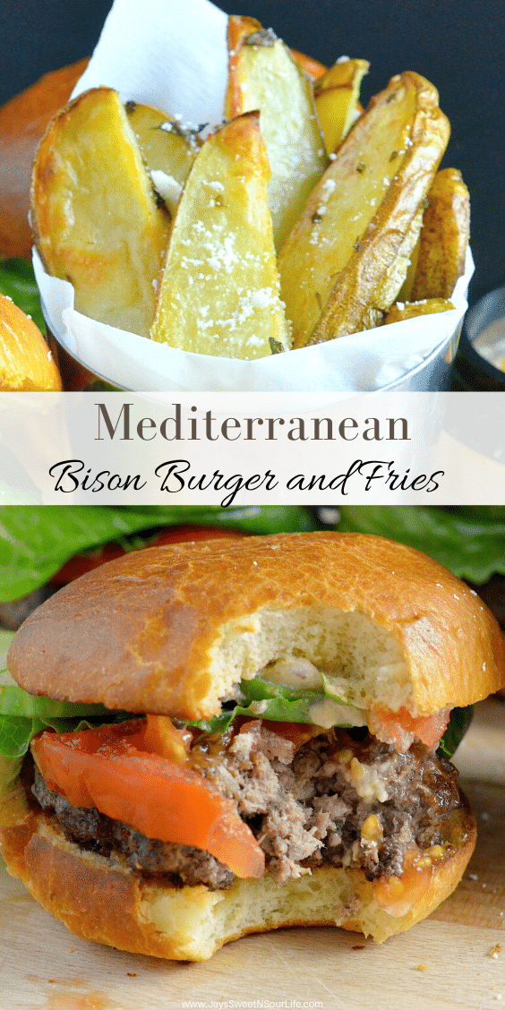 Mediterranean Bison Burger and Fries. My Mediterranean Bison Burger and Fries is the perfect way to put a spin on weeknight dinner. This juicy and flavorful burger is paired with baked fries and sprinkled with feta cheese.