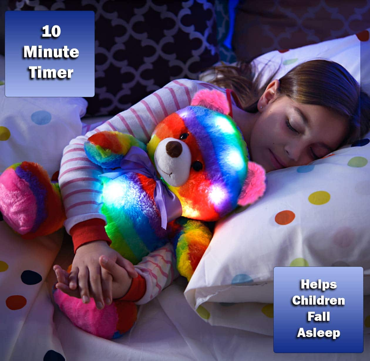 The Noodley LED Stuffed Animal Plush Light Up Toy Bear. Kids love all things that light up! We designed this colorful rainbow teddy bear to come to life with multi colored LED lights that soothe children with fears of the dark. 2020 Valentine's Day Gift Guide from Jays Sweet N Sour Life Blog.