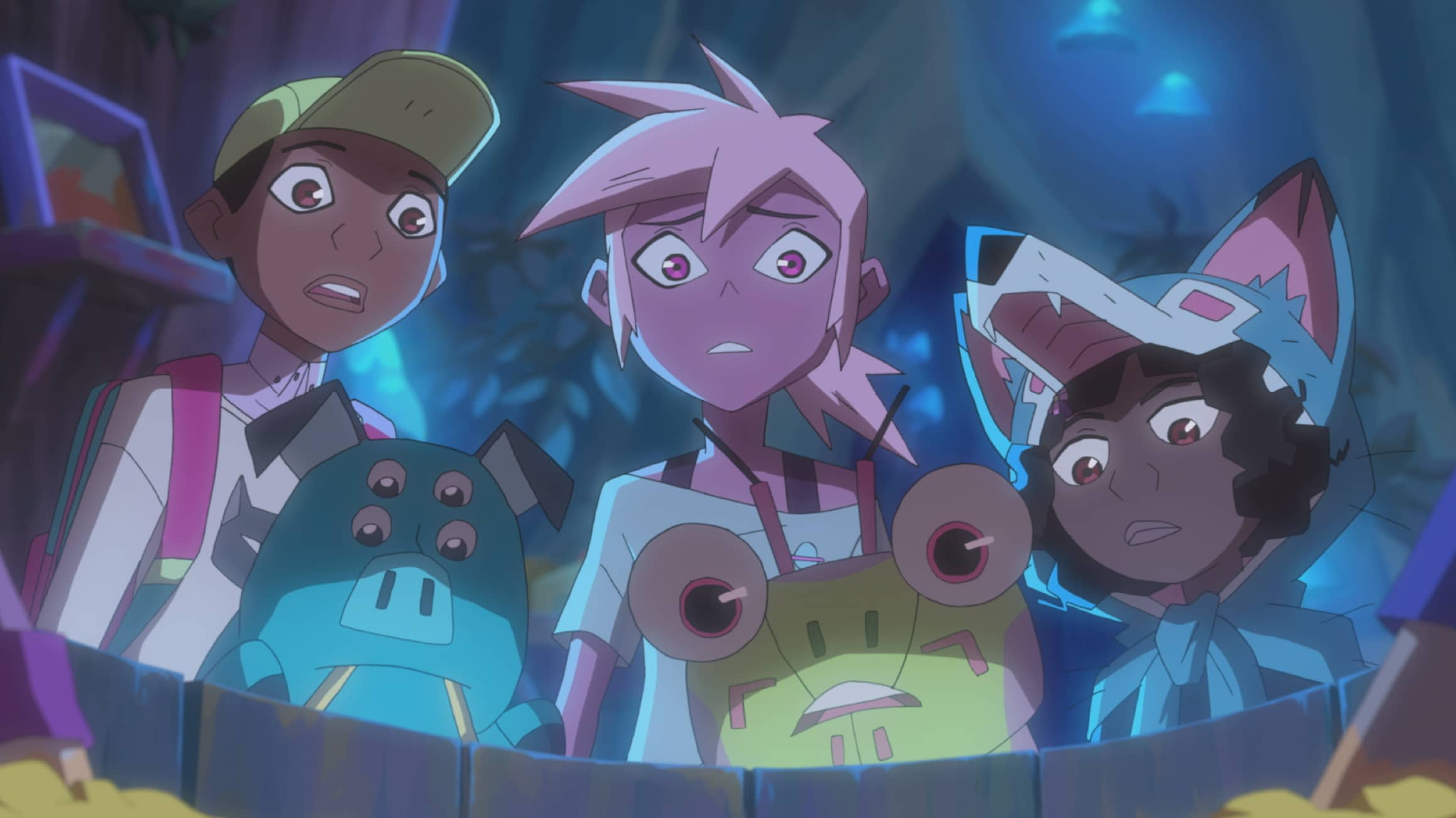 Benson (Coy Stewart), Mandu (Dee Bradley Baker), Kipo (Karen Fukuhara), Dave (Deon Cole), Wolf (Sydney Mikayla). DreamWorks Kipo and The Age of Wonderbeasts will return to Netflix June 12, for a second season filled with adventures through the whimsical, weird post-apocalyptic world of Las Vistas.