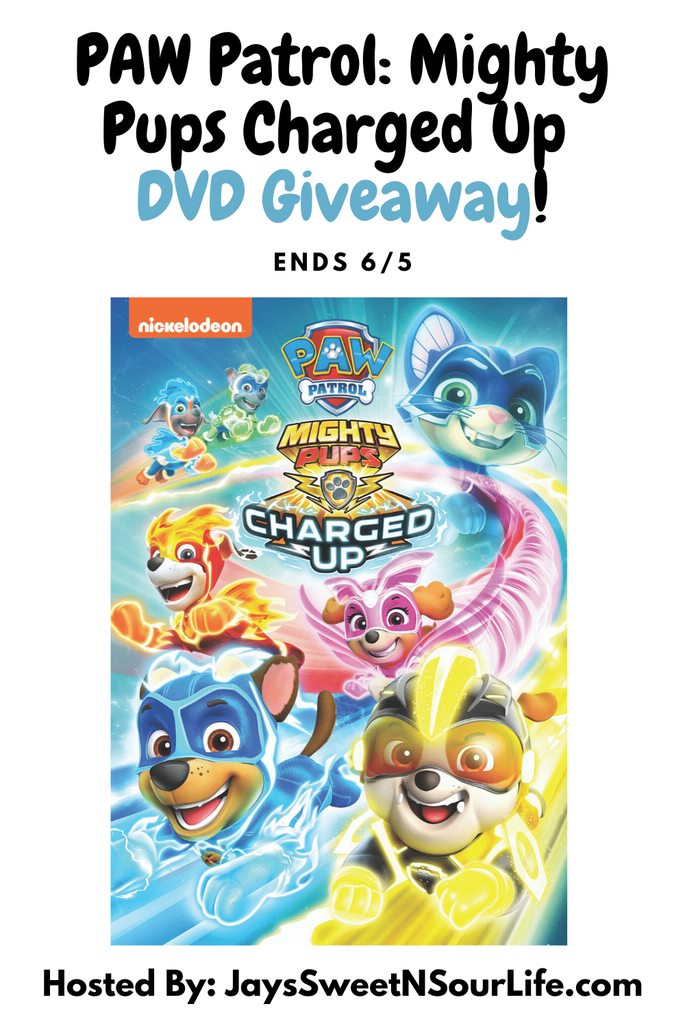 PAW Patrol Mighty Pups Charged Up DVD Giveaway. The paw-some Mighty Pups are back for next level action-packed adventures in PAW Patrol: Mighty Pups Charged Up. Enter to win a copy of this awesome DVD on my blog today, giveaway ends 6/5.