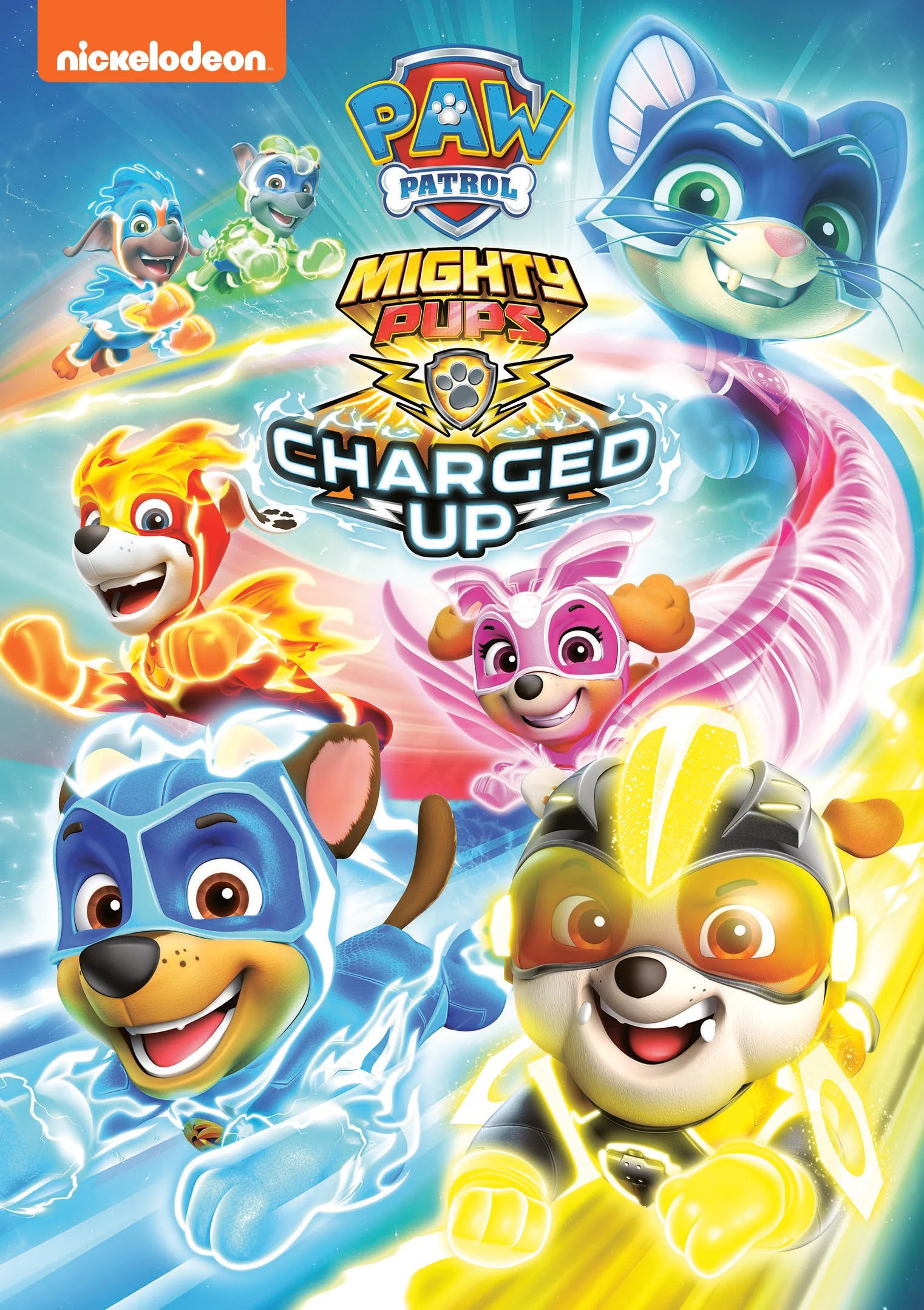 PAW Patrol: Charged Up DVD. The paw-some Mighty Pups are back for next level action-packed adventures in PAW Patrol: Mighty Pups Charged Up. With this epic new DVD collection, fans can follow the Mighty Pups on daring rescue missions as they use their new superpowers and charged-up hover vehicles to save Adventure Bay from a brand-new baddie the Copycat.